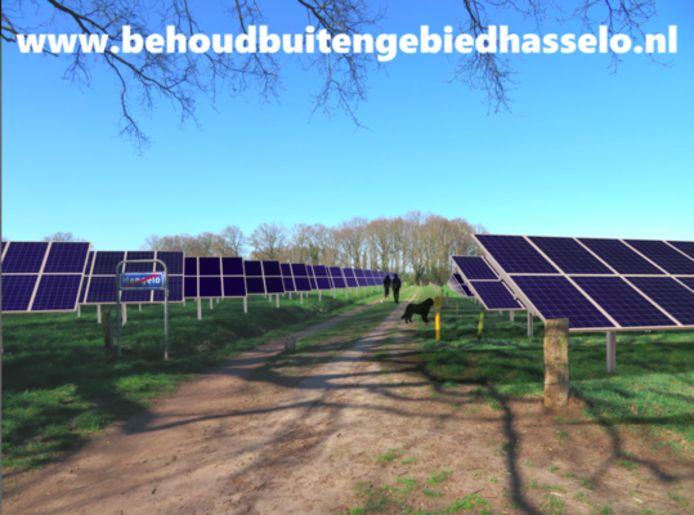 Een schets van hoe het zonnepark bij de Hasseler Es er uit kan komen te zien.