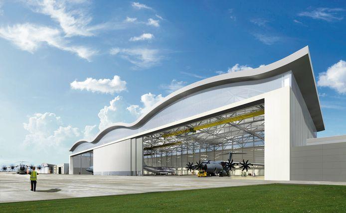 De grootste vliegtuighangar die Defensie ooit bouwde, kost in totaal 49,6 miljoen euro en biedt plaats aan drie A400M-toestellen.