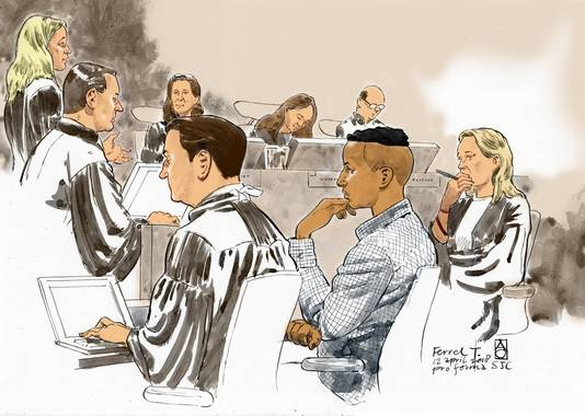 Rechtbanktekening van de zitting in de zaak tegen de mannen die worden verdacht van de moord op Hakim Changachi