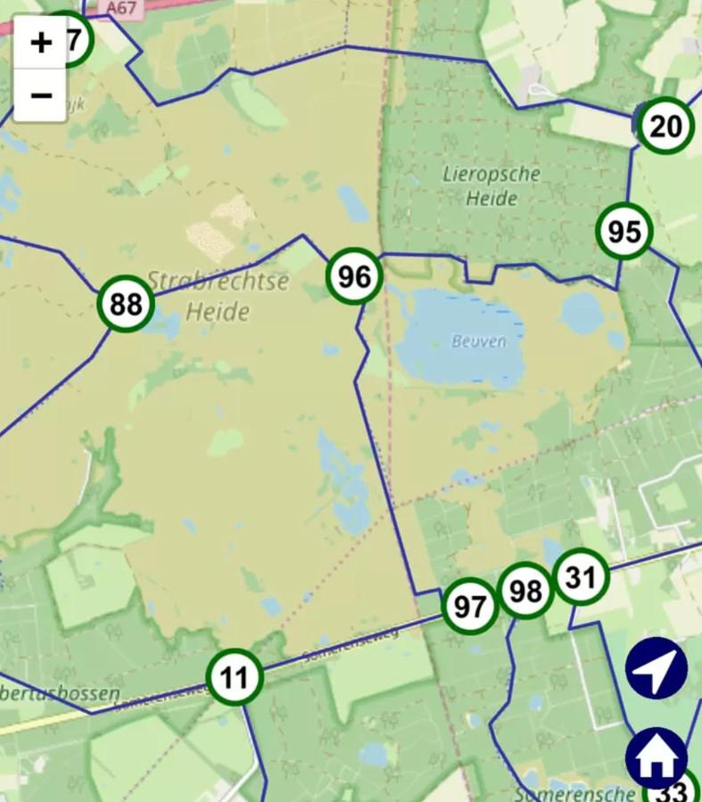 De knooppunten 96 en 97 zijn tijdelijk uit het routenetwerk gehaald.