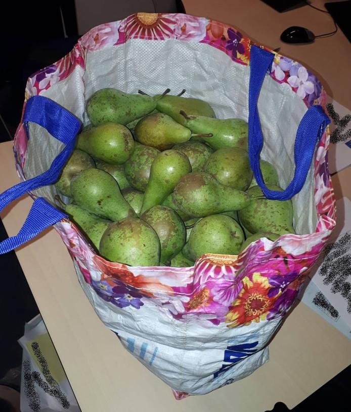 De boodschappentas vol peren.