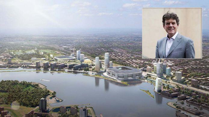 Een illustratie van de plannen voor Feyenoord City. Inzet: Wethouder Van Gils