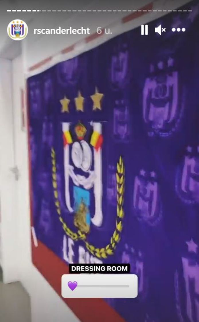 Anderlecht hing enkele paars-witte vlaggen op in de catacomben van Sclessin.