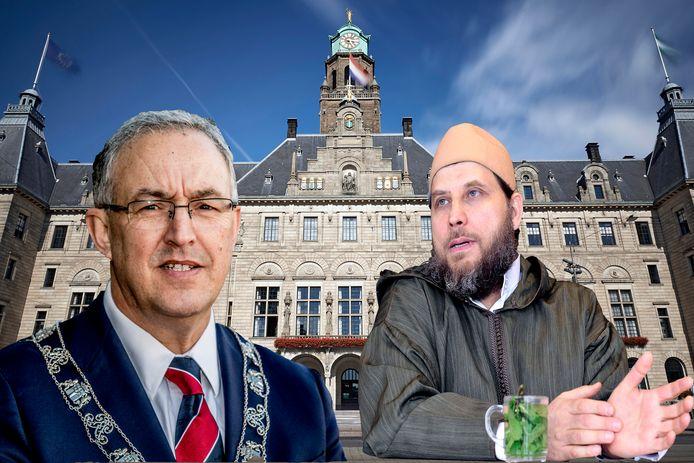 Prediker Fawaz Jneid vindt burgemeester Abouteleb een 'vijand van de islam'.