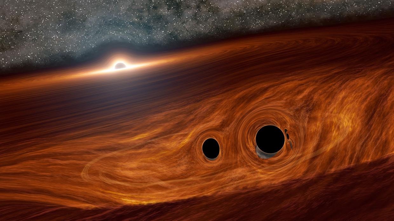 Tekening van twee zwarte gaten (rechtsonder) die elkaar tegenkomen in de stofschijf rond een superzwaar zwart gat (linksboven) in het centrum van een sterrenstelsel.