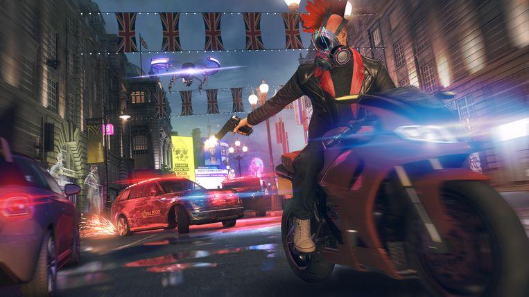 Het spelerpersonage op de vlucht voor de autoriteiten in 'Watch_Dogs: Legion'. Beeld Ubisoft