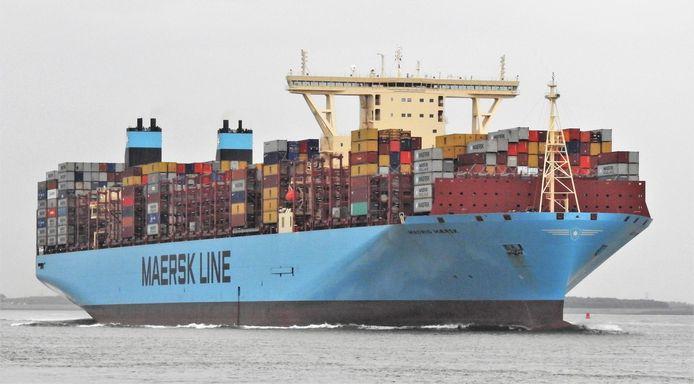 Kolossale containerschepen zullen in de toekomst regelmatig in Antwerpen arriveren. Op foto: de Madrid Maersk, die in juni in Antwerpen was.
