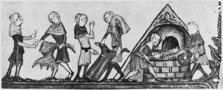 Kleren die besmet zijn met de Zwarte Dood worden verbrand, rond 1340. Illustratie uit de Alexanderroman uit de Bodleian Bibliotheek in Oxford.  Beeld Getty Images