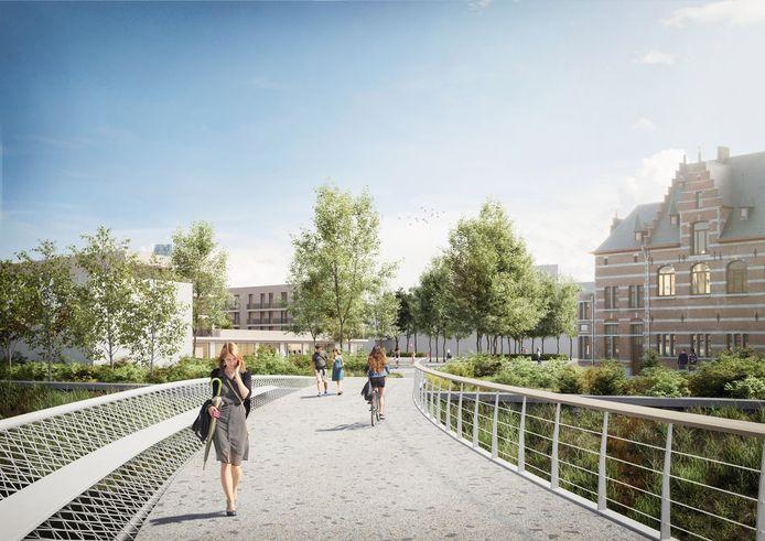 De toekomstige fiets- en voetgangersbrug ter hoogte van het Keerdok in Mechelen.