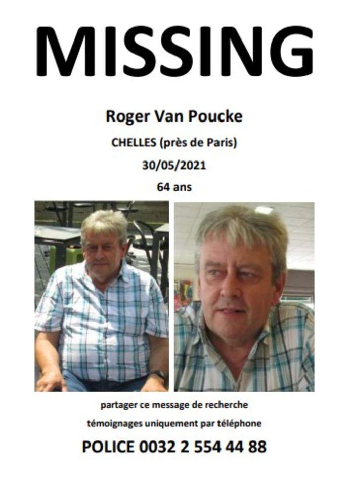 De familie van Roger Van Poucke heeft ook eigenhandig een flyer met opsporingsbericht gemaakt.