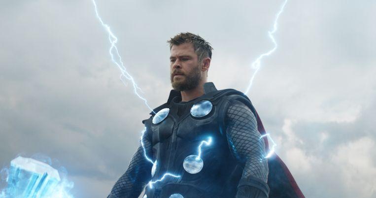 Thor, gespeeld door Chris Hemsworth,  in Avengers: Endgame. Beeld