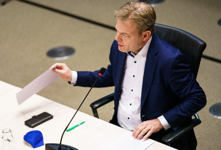 Pieter Omtzigt tijdens de hoorzitting van de tijdelijke commissie Uitvoeringsorganisaties. Beeld Freek van den Bergh / de Volkskrant