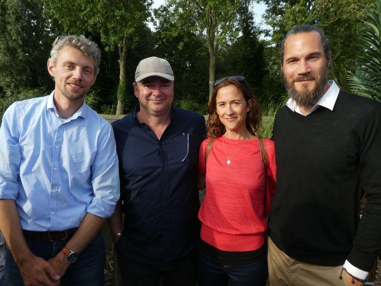 Joris Kroon (Global Guide Systems), Micha van wWnkelhof en Penelope Cabot van Opus Insights, en Douwe Versfeld (Tunga). Beeld Hans van der Beek
