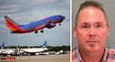 Een vliegtuig van Southwest Airlines, de verdachte Michael Kellar (56).