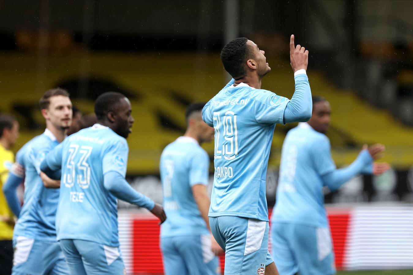 Cody Gakpo schoot PSV al na 13 minuten op voorsprong tegen VVV-Venlo.