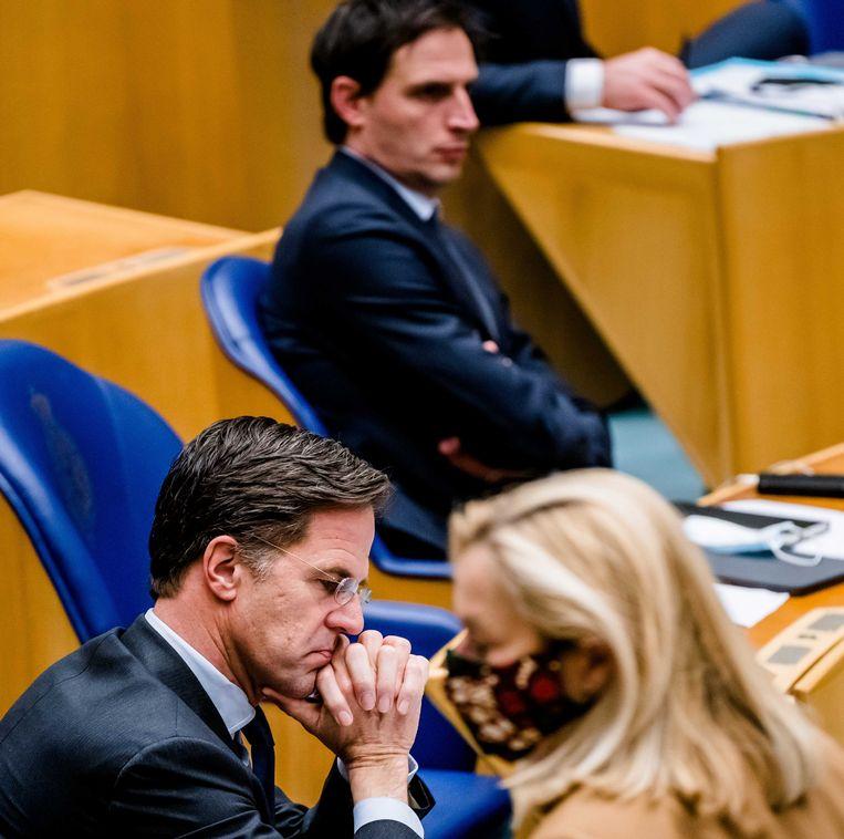 Sigrid Kaag (D66), Mark Rutte (VVD) en Wopke Hoekstra (CDA) in de Tweede Kamer tijdens een debat over de mislukte formatieverkenning.  Beeld ANP