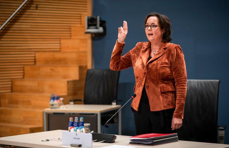 Tamara van Ark, oud-staatssecretaris van Sociale Zaken, wordt gehoord door de parlementaire onderzoekscommissie.  Beeld Freek van den Bergh / de Volkskrant
