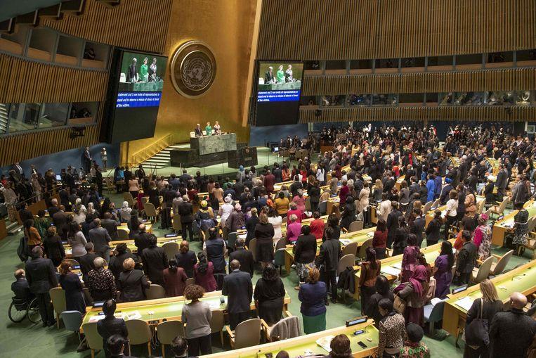 Beeld van de opening van de vergadering van de Commission on the Status of Women. Beeld AFP