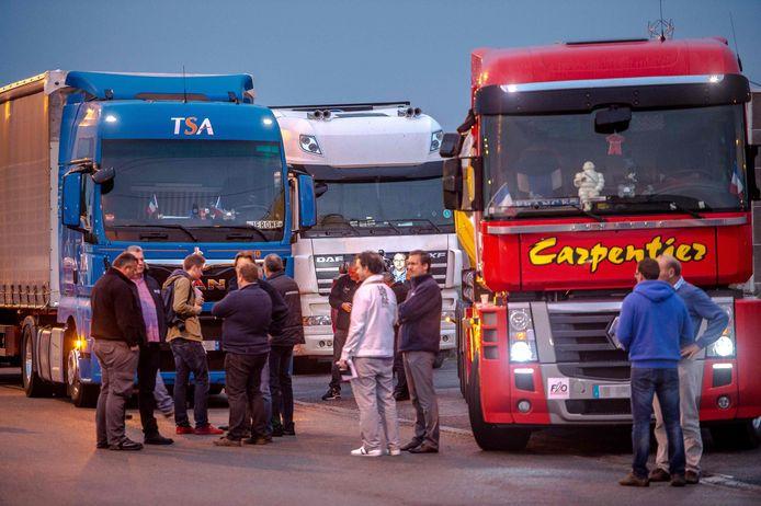 Chauffeurs, vorig jaar, bij een protestactie tegen de 'jungle'van Calais.
