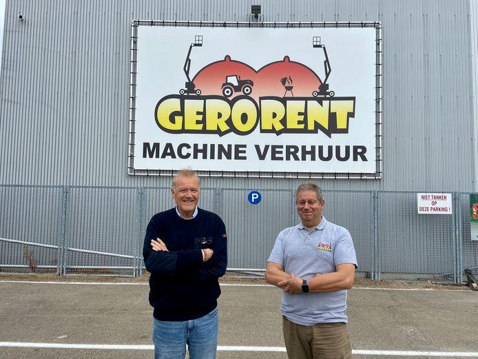 Remy Gerardi (links) en Ronny Verelst (rechts) van Gerorent aan het nieuwe magazijn van het verhuurbedrijf op het industrieterrein in Malle