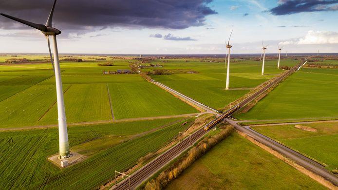 Tolhuislanden, het buitengebied van Zwolle waar nu vier windmolens staan.
