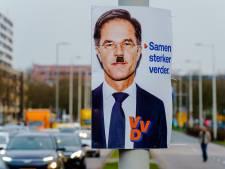 Verkiezingsposters met Mark Rutte in Rotterdam beklad met Hitlersnor: 'Dit slaat nergens op'