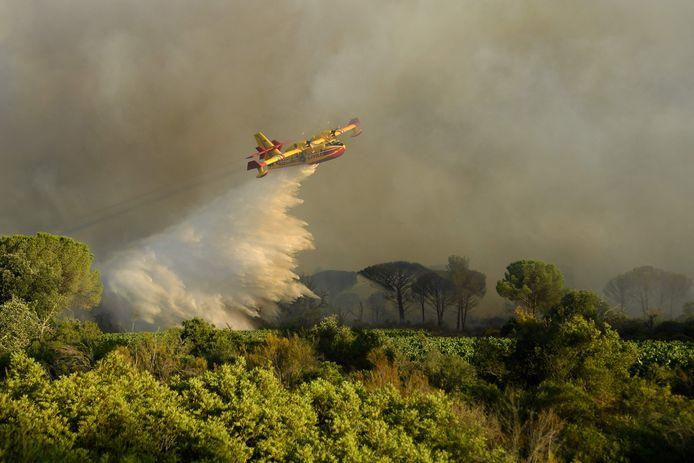 Un aereo antincendio opera su Gonvaron.