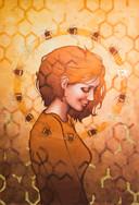 Bee, een schilderij van Fleur de Blieck uit Nijmegen die begin 2019 meedeed aan Project Rembrandt.