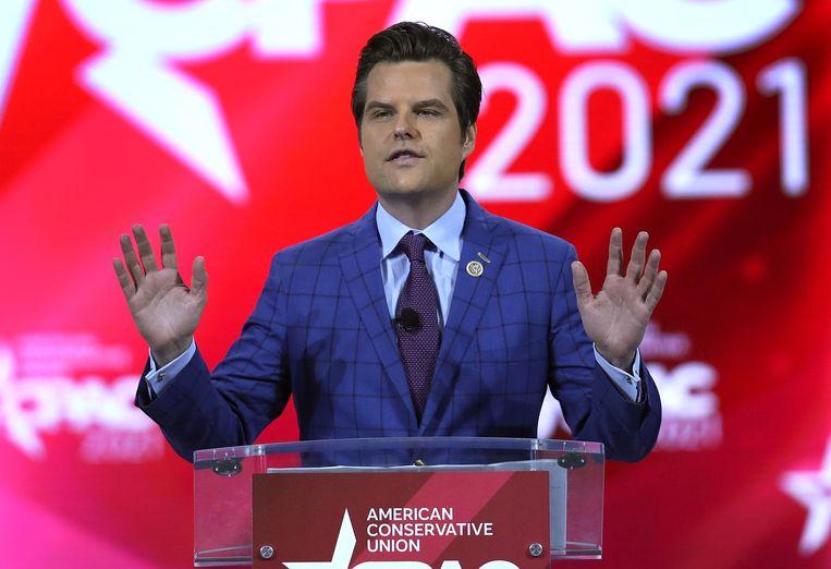 Matt Gaetz, eerder dit jaar tijdens een conservatieve conventie in Florida. Beeld AFP