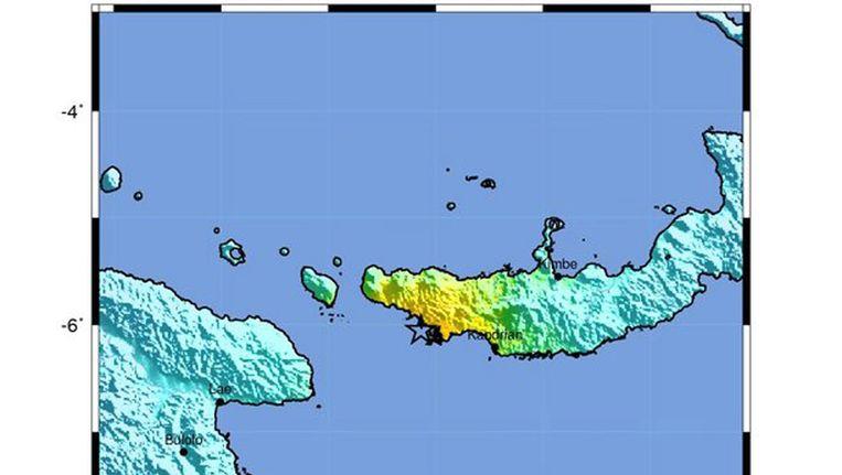 Het sterretje geeft het epicentrum aan van de beving in Papoea-Nieuw-Guinea. Beeld EPA