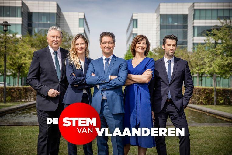 De ankers van 'VTM Nieuws': Dany Verstraeten, Elke Pattyn, Stef Wauters, Birgit Van Mol en Freek Braeckman.