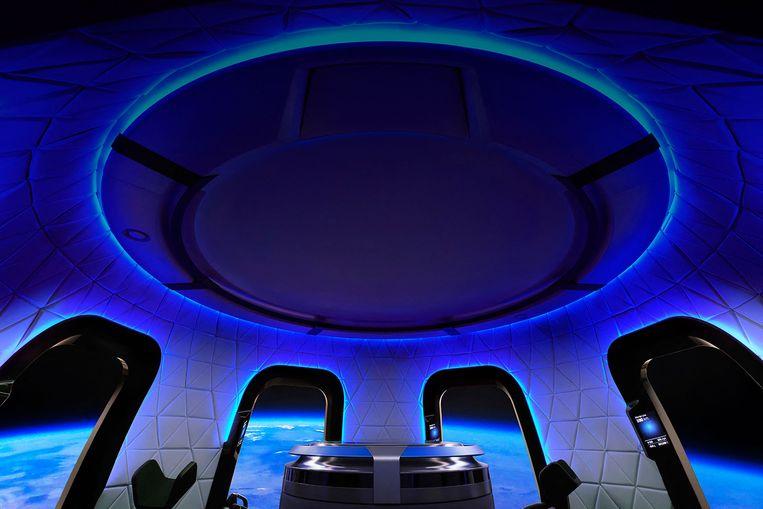 De binnenkant van de Blue Origin-capsule. Beeld AFP