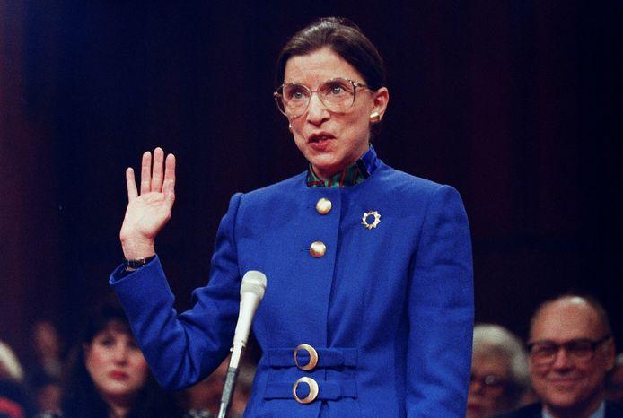 'RBG', Ruth Bader Ginsburg, tijdens haar benoeming tot opperrechter in 1993 in Washington.