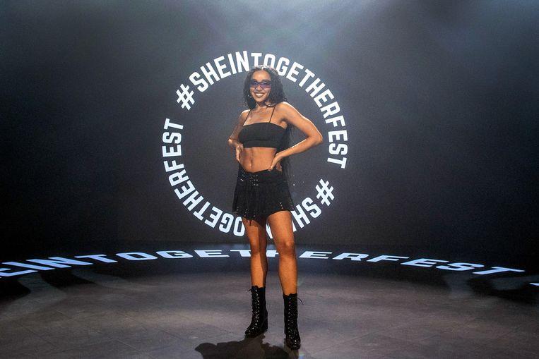 De Amerikaanse singer-songwiter Tinashe in mei dit jaar bij het 'SHEIN Together Fest' in de Amerikaanse stad Los Angeles. Beeld Getty
