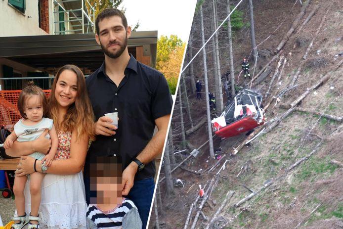 Young Eitan (yang tidak bisa dikenali di foto ini) bersama keluarganya.  Ibu, ayah dan saudara laki-lakinya tewas dalam kecelakaan kereta gantung di dekat Lago Maggiore di Italia utara.  Kakek buyutnya juga tidak selamat dari kejatuhan.