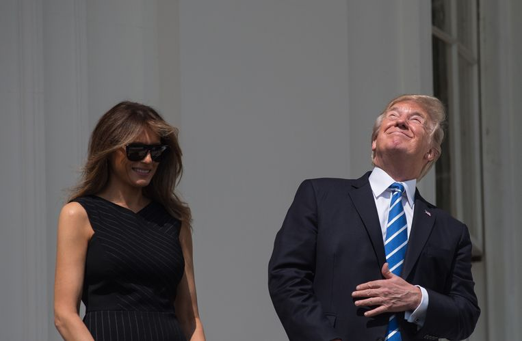 Donald Trump en first lady Melania. Beeld AFP