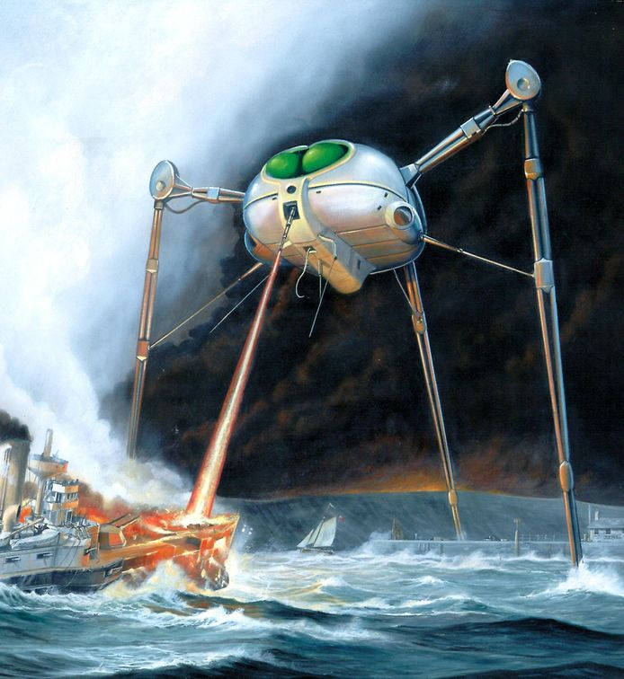 Een klassieke 'tripod', gebaseerd op artwork uit de muzikale versie van de Science-fictionklassieker The War of the Worlds.