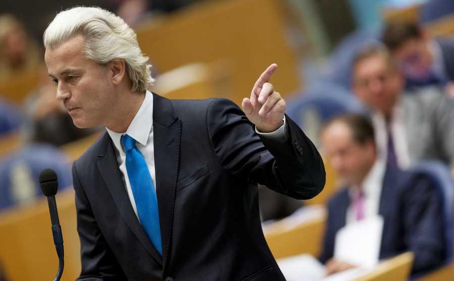 PVV-leider Geert Wilders in de Tweede Kamer.