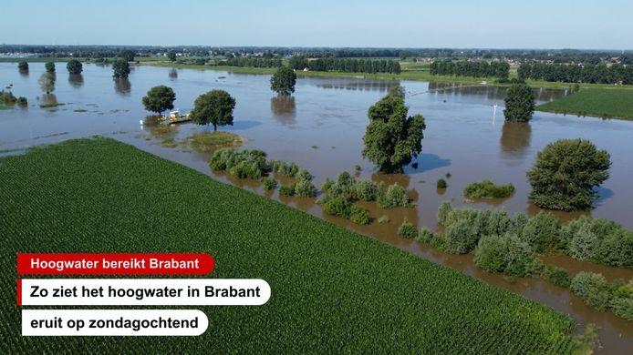 Zo ziet het hoogwater eruit in Brabant vanuit de lucht