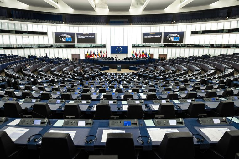 De plenaire zaal van het Europees Parlement in Straatsburg, waar deze zondag de Conferentie over de Toekomst van Europa officieel zal worden geopend. Beeld EPA