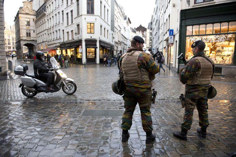 Militairen in het centrum van Brussel.