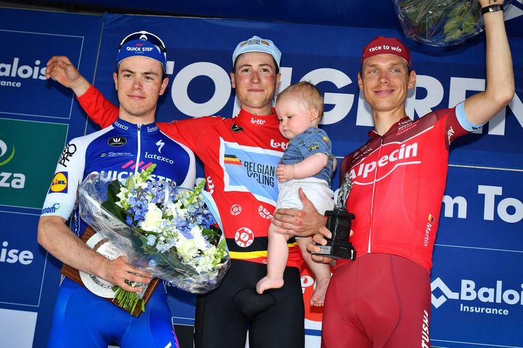Het podium van de 87ste editie van de Baloise Belgium Tour, met Jens Keukeleire als winnaar, Rémi Cavagna op twee en Tony Martin op drie. Beeld BELGA