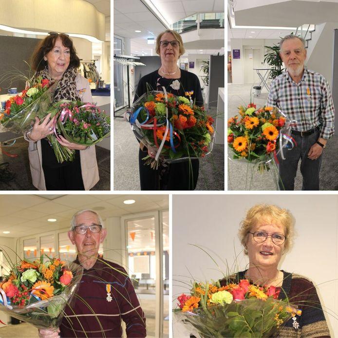 De gedecoreerden van Westervoort. Vlnr boven: Tineke Beumer-Schippers, Ans Karsten-Spruit en Ton Jansen. Onder: Henk Evers en Jannie Arends-Vegers.