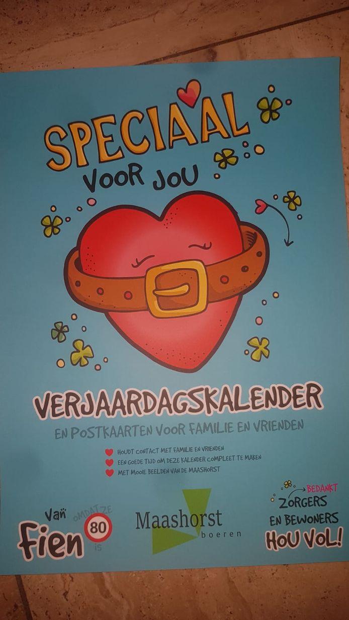 De verjaardagskalender die de Maashorstboeren hebben uitgedeeld aan bewoners van Sint Jan in Uden.
