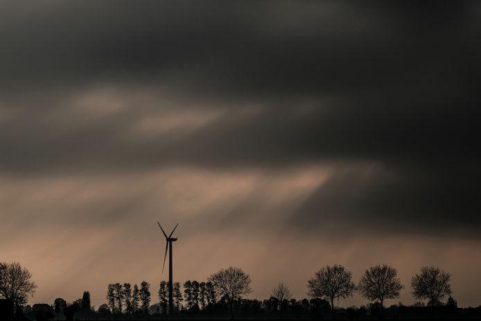 Een windturbine in de omgeving van Netterden.