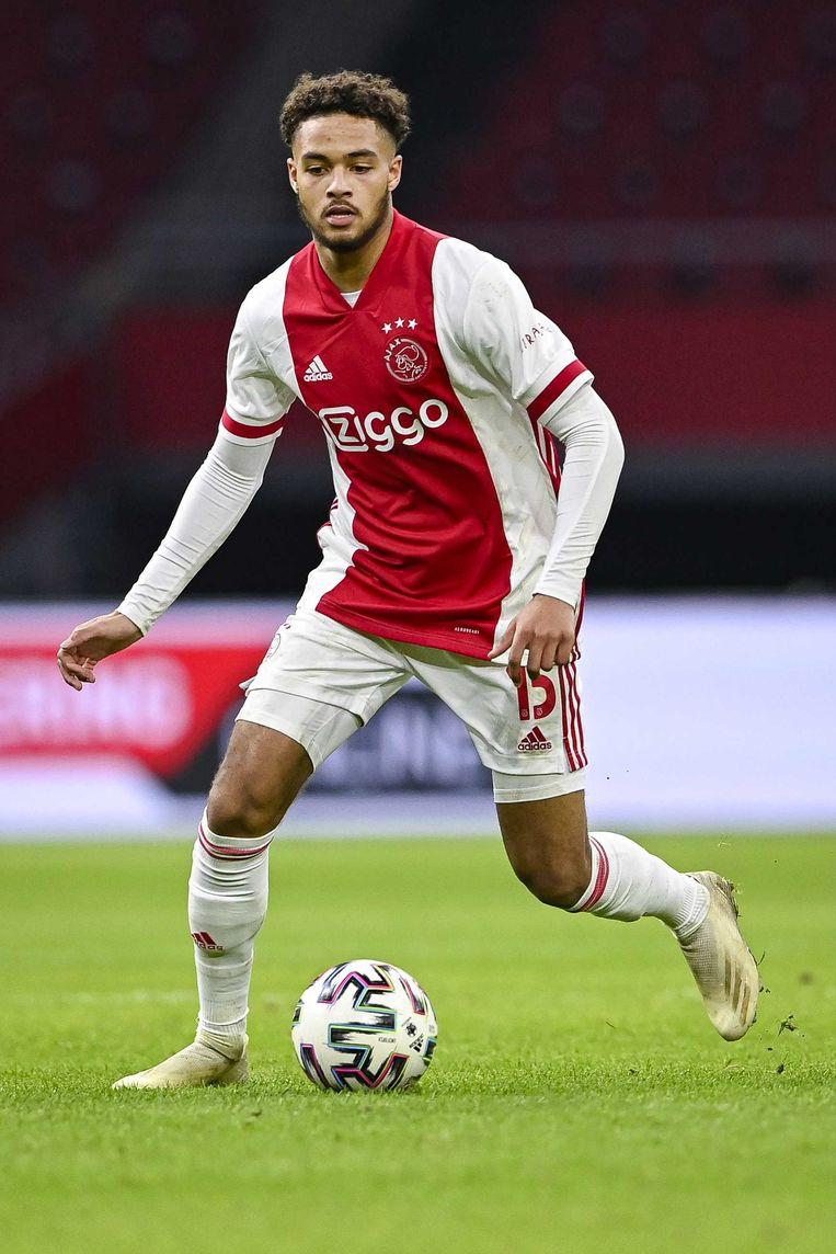 Devyne Rensch afgelopen december, tijdens Ajax-FC Utrecht. Beeld ANP