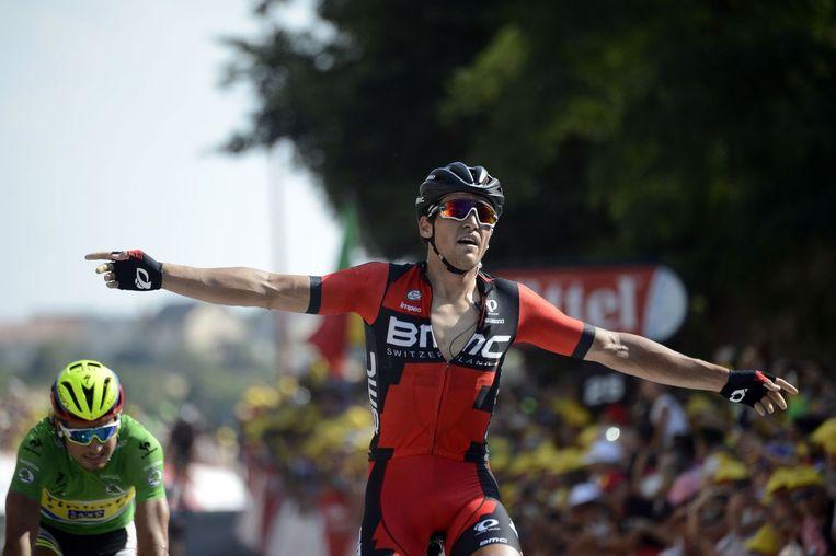 Greg van Avermaet viert zijn etappezege in de Tour de France 2015. Beeld afp