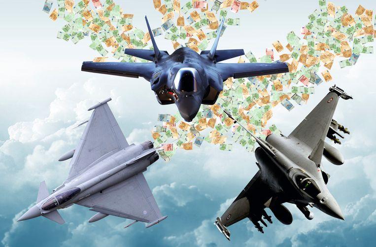 Vlnr: Eurofighter Typhoon (Brits-Duits-Spaans-Italiaans), F-35 (Amerikaans) en Dassault Rafale (Frans) Beeld collage DM
