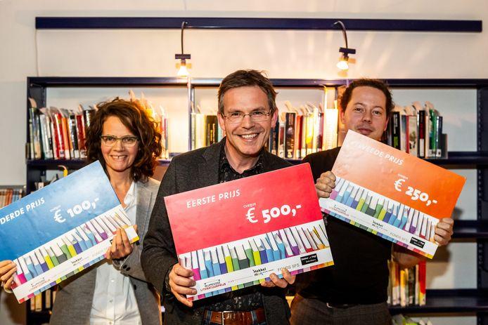 De winnaars van de Nijmeegse Literatuurprijs 2019. Met Ernie Bossmann (l), Pascal Lamberigts (m) en Rik Sprenkels.