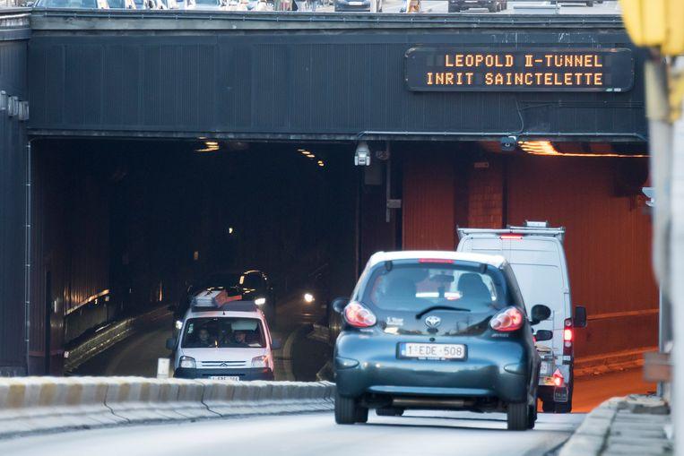 De Leopold II-tunnel is afgesloten.
